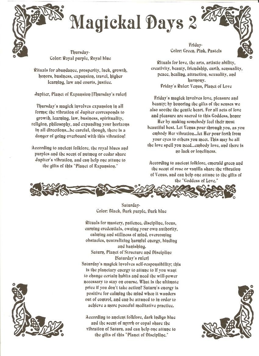 Days of Week Correspondences 2- BoS1 - free Book of Shadows pages to save or print - Section One