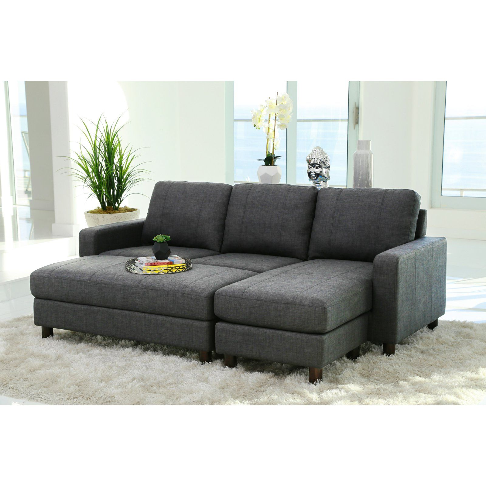 Abbyson Stanford Fabric Reversible Sectional Sofa With Storage Ottoman With Images Sectional Sofa Small Sectional Sofa Couch With Ottoman