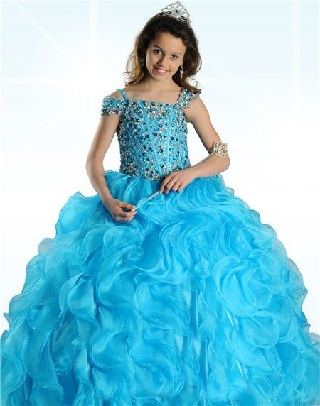 Ball Gown Turquoise Blue Organza Ruffle Beaded Little Girl Prom ...
