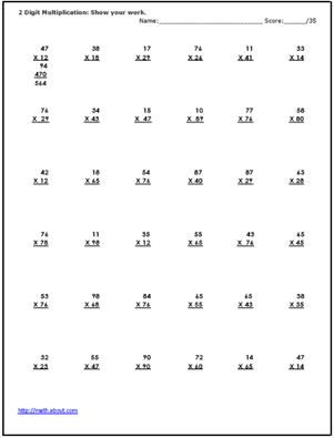 Practice TwoDigit Multiplication With These Printable Worksheets