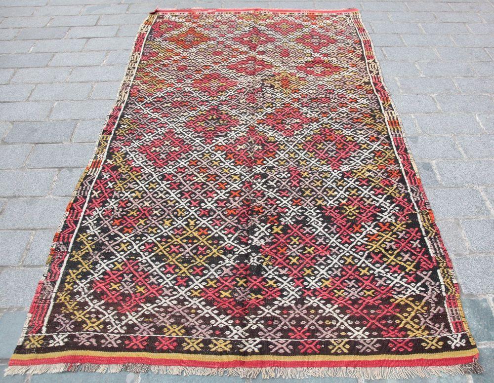 Tribal Cicim Kilim Carpet, Vintage kilim,Naturel dyes Cicim kilim,Vintage kilim. #Turkish#kilims#rugs