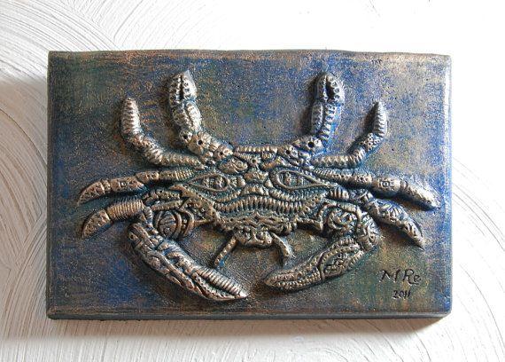 Blue Crab Garden Sculpture Beach Themed Decor Ocean Lover Art