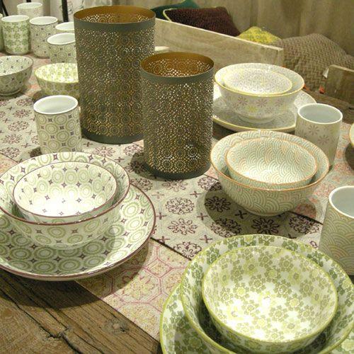 Chemin de table coton motif Zelige 3 couleurs Jardin d\'Ulysse ...