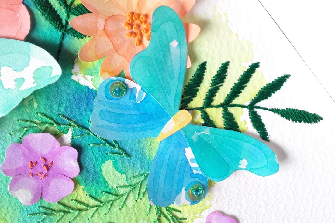 Embroidery And Paper Collage Flowers Commission Piece By