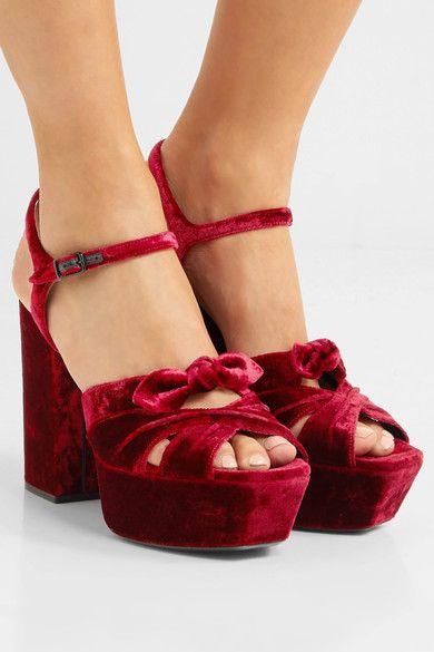 31ee3f672cd Saint Laurent - Farrah Bow-embellished Velvet Platform Sandals - Red ...