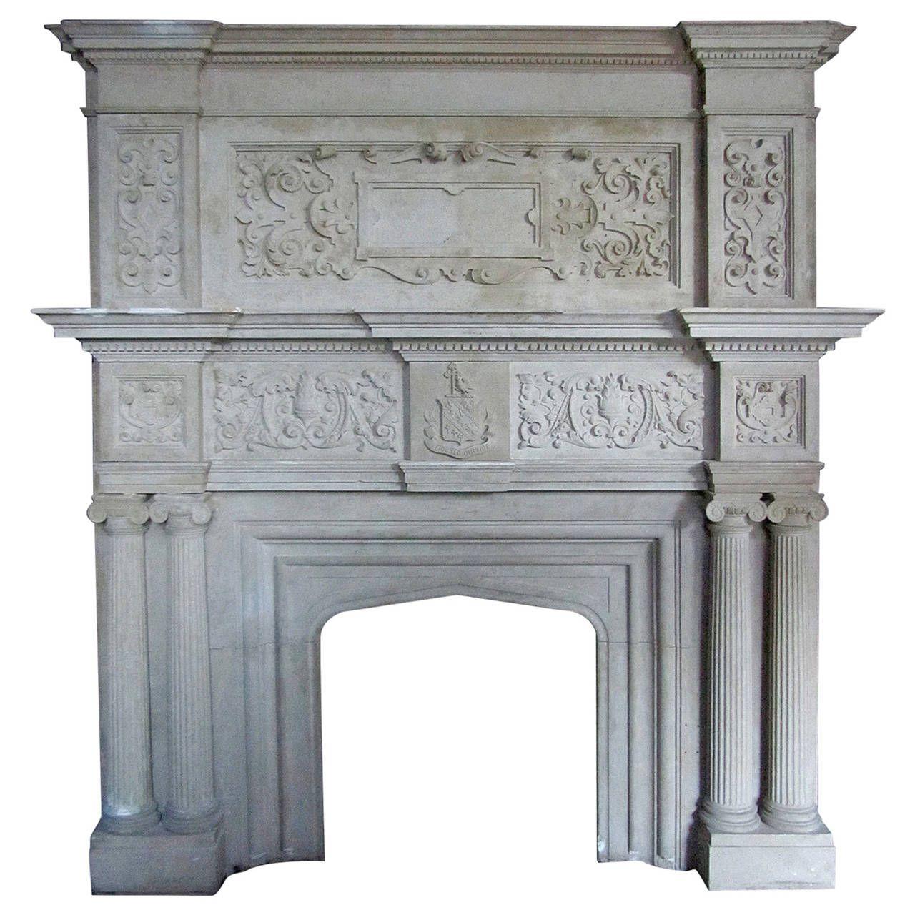 Large Indiana Limestone Tudor Revival Style Fireplace Mantel ...