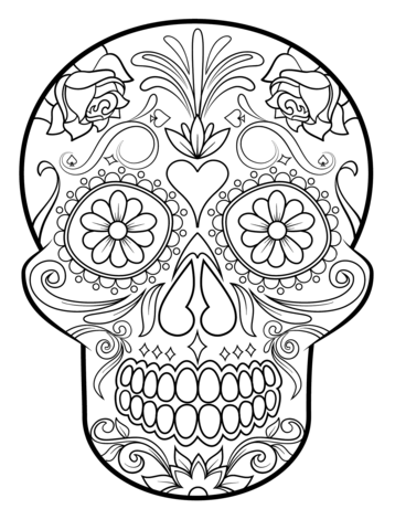 Sugar Skull Coloring Page From Sugar Skulls Category Girly Sugar Skull Coloring Pages