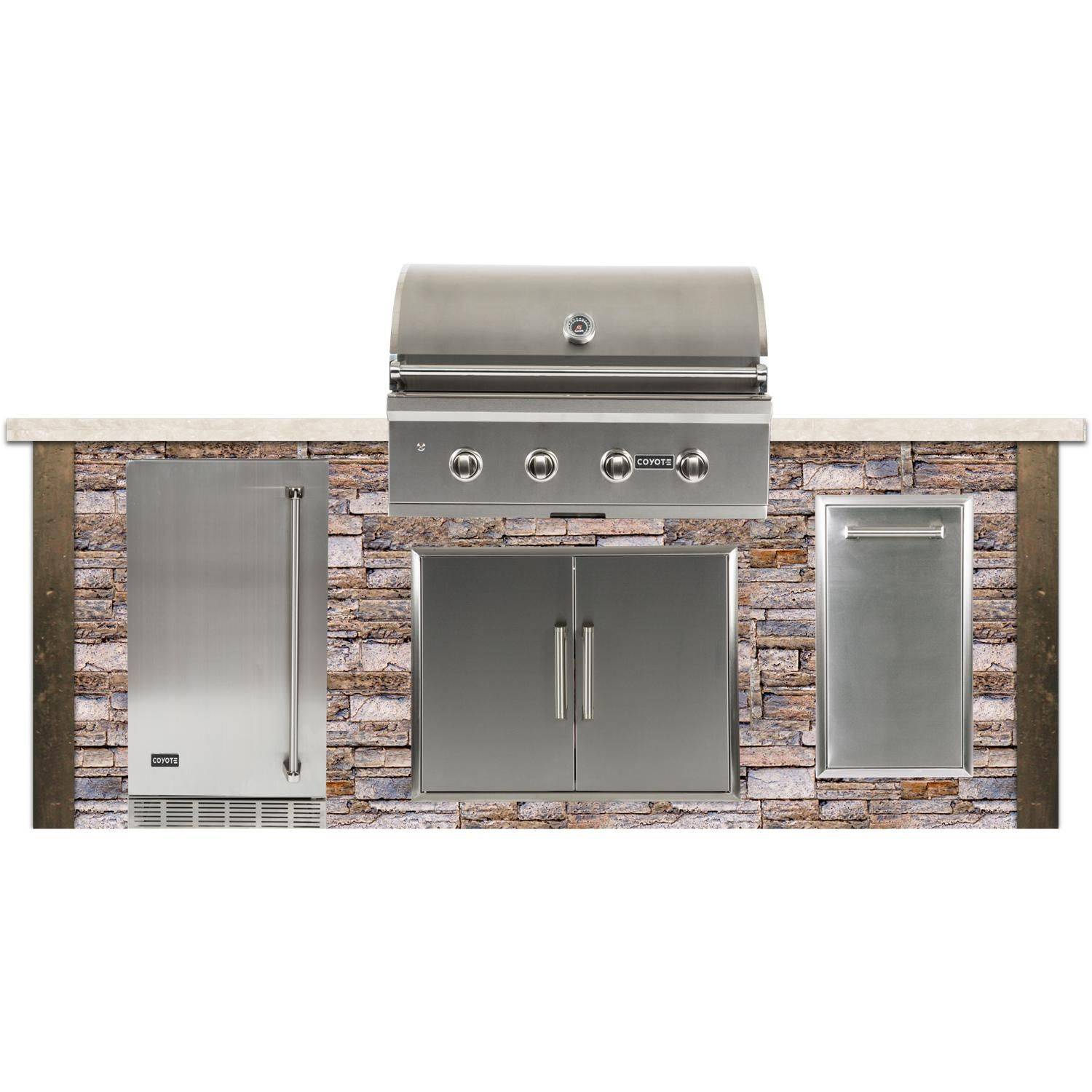Coyote Ready To Assemble 8 Ft Outdoor Kitchen Island With 36 Inch C Series Natural Gas Grill Ships As P Outdoor Kitchen Island Natural Gas Grill Stacked Stone