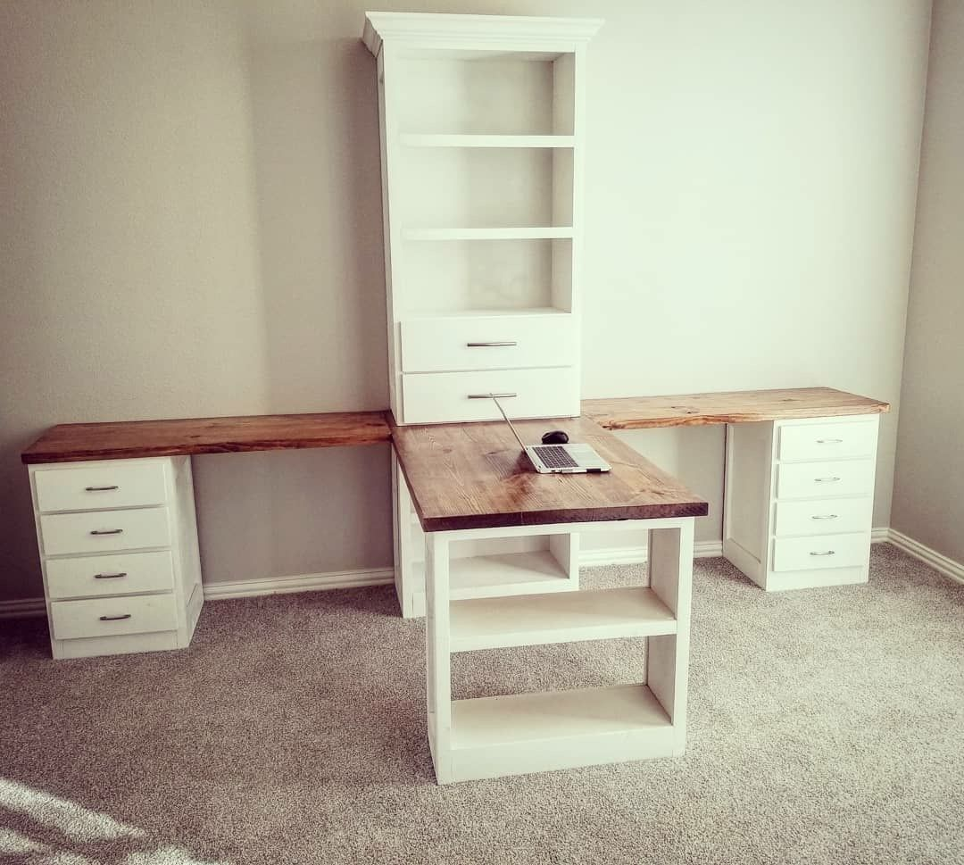 One Side For Crafting One Side For Sewing Homeofficeideas Home Office Space Home Office Design Craft Room Design