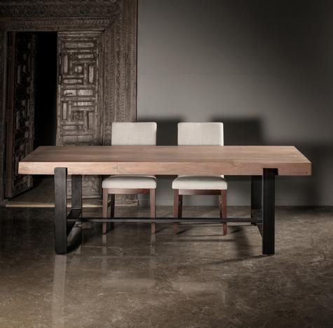 Acacia Dining Table With Metal Legs Table Dining Room Spaces Dining Table