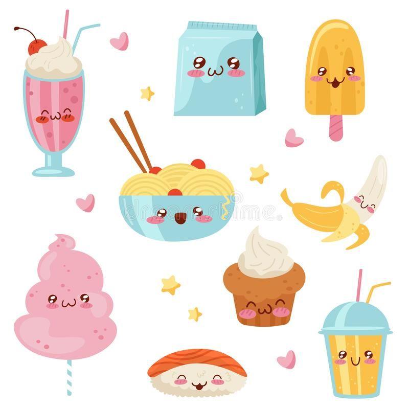 Cute Kawaii Food Cartoon Characters Set Desserts Sweets Sushi Fast Food Vector Illustration On A White Backgrou Kawaii Food Food Cartoon Food Illustrations