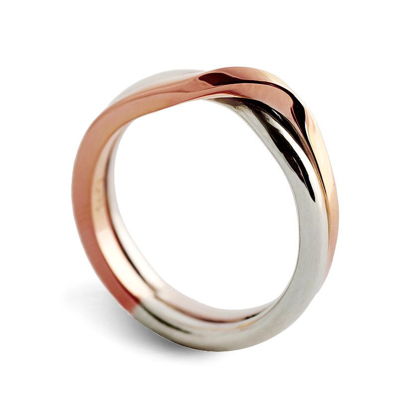Christmas Love Knot White And Rose Gold Wedding Band Unique Ring