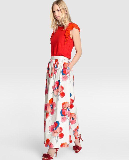 7f300974e Falda larga de mujer Yera con estampado de flores | faldas casuales ...