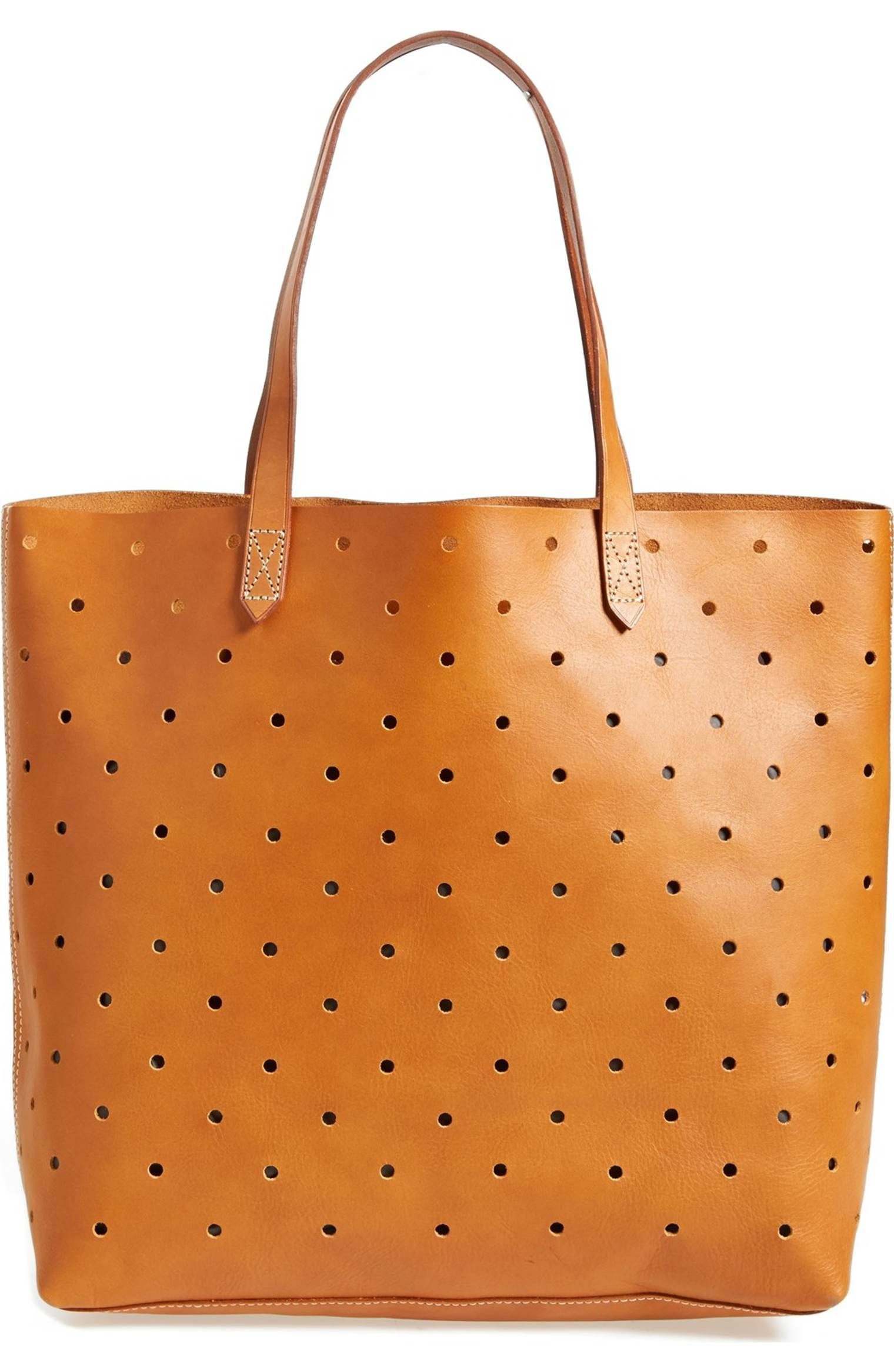 Perforated Leather Transport Tote