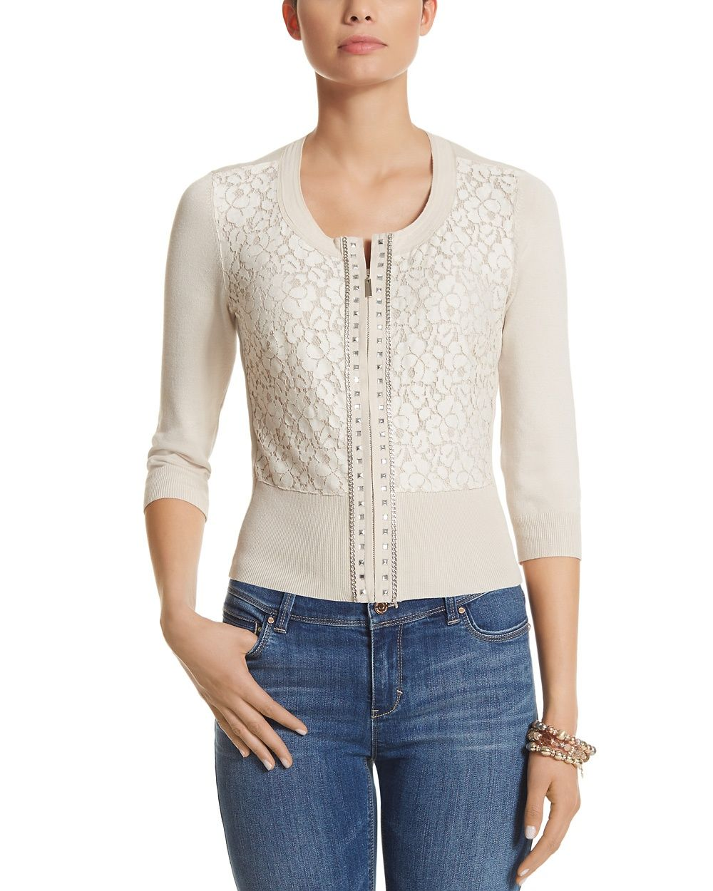 Gorgeous cardigan with lace overlay in front that is a beautiful ...