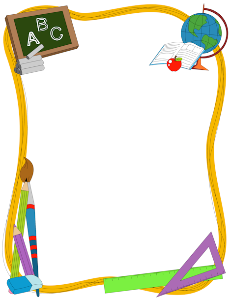 A great border for teachers featuring generic school-related graphics including a chalkboard, globe, rulers, etc. Free downloads at http://pageborders.org/download/school-border/