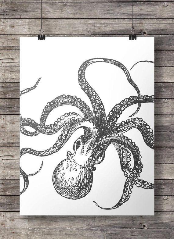 Octopus prints black white tentacles kraken nautical art set of four printable wall art octopus art prints kraken print vintage ocean octopus print