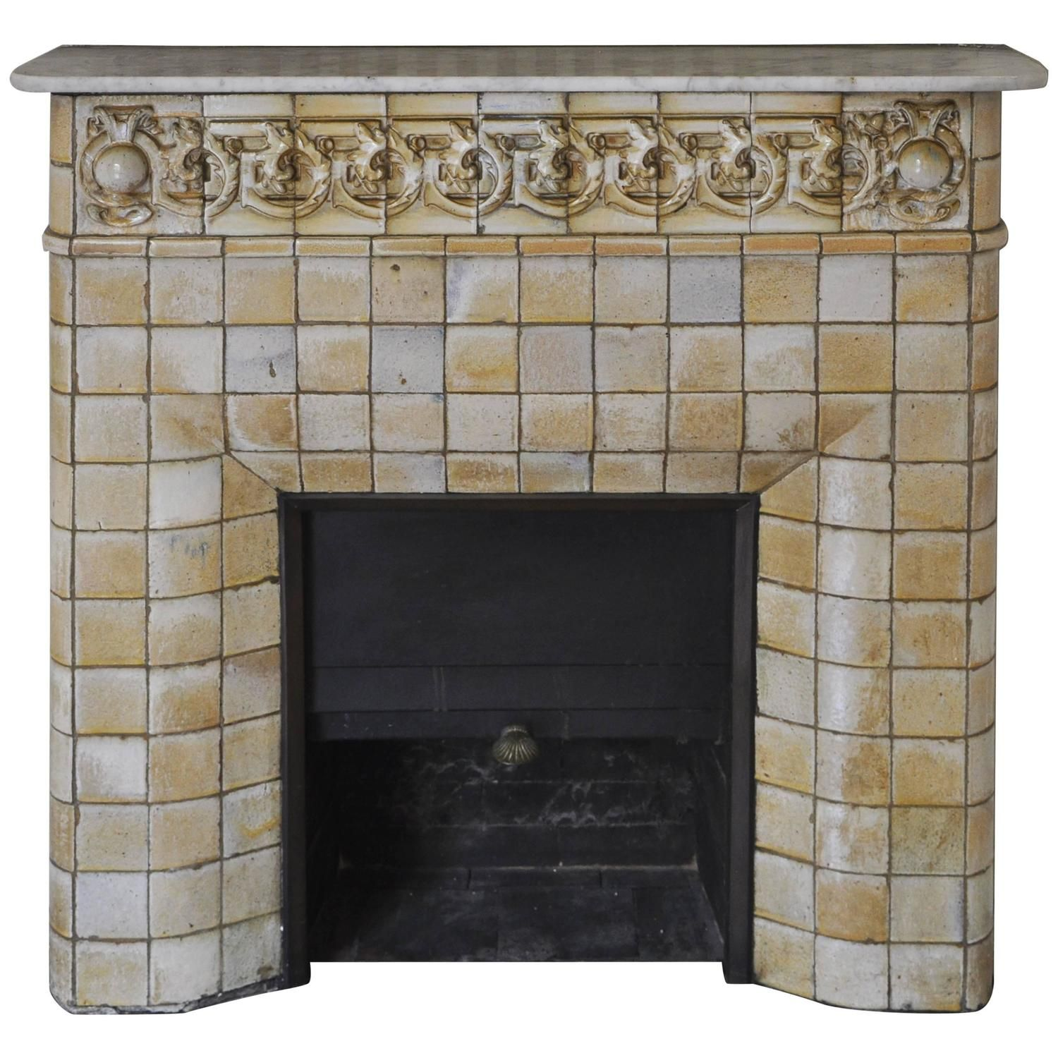 1900s Art Nouveau Fireplace Attributed to