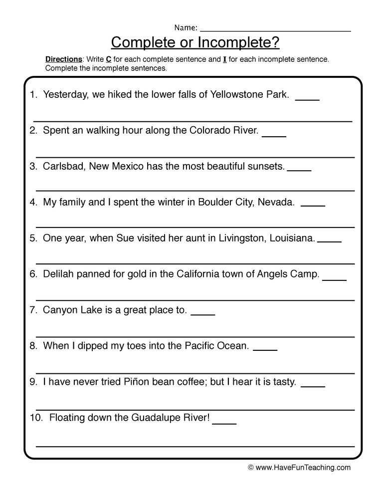 25+ Practice writing complete sentences worksheets Images