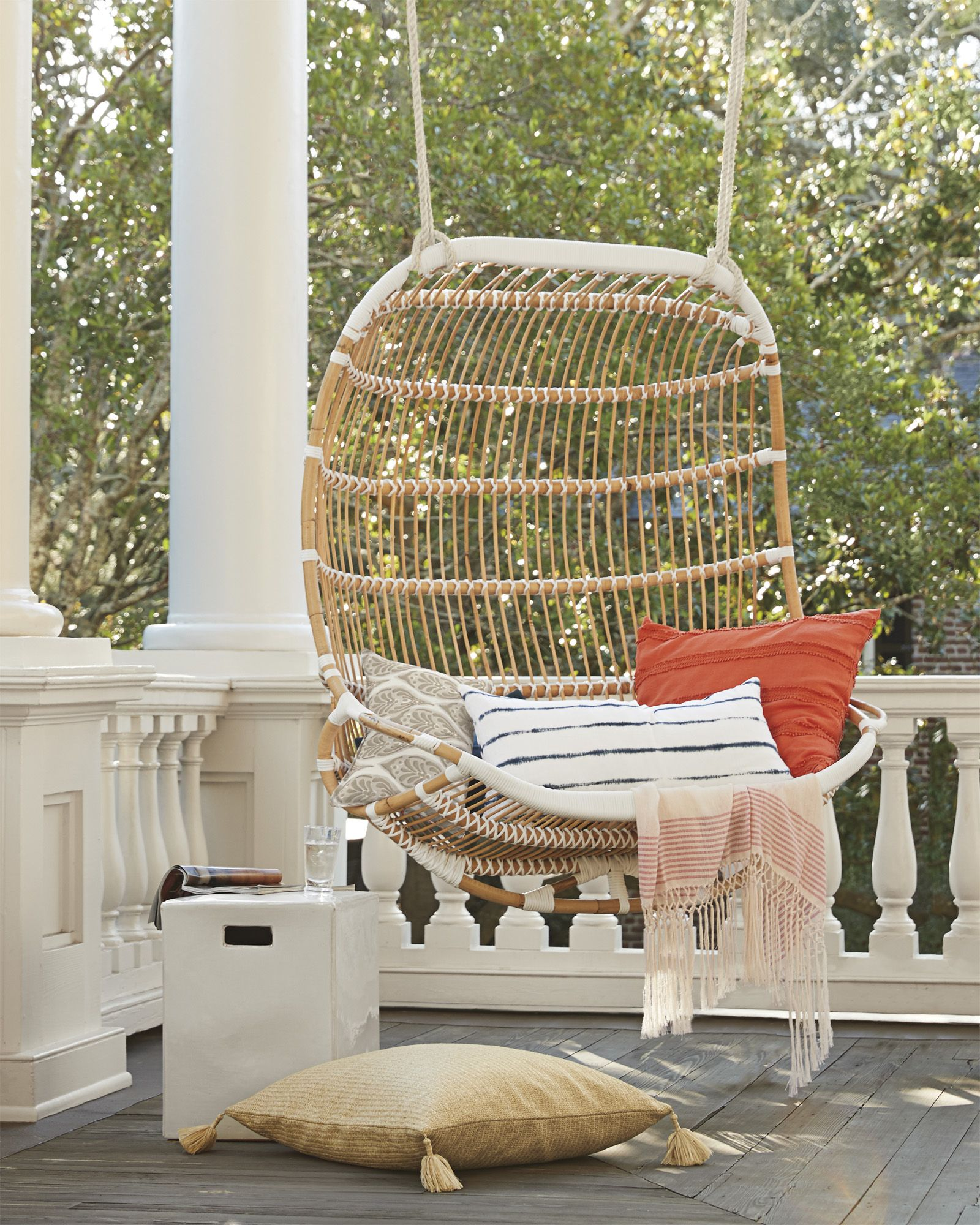 hanging patio chair desk posture corrector double rattan furniture porch decor a day for relaxing outdoors via serena lily