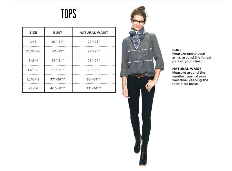 Clothing size charts measurement guide madewell