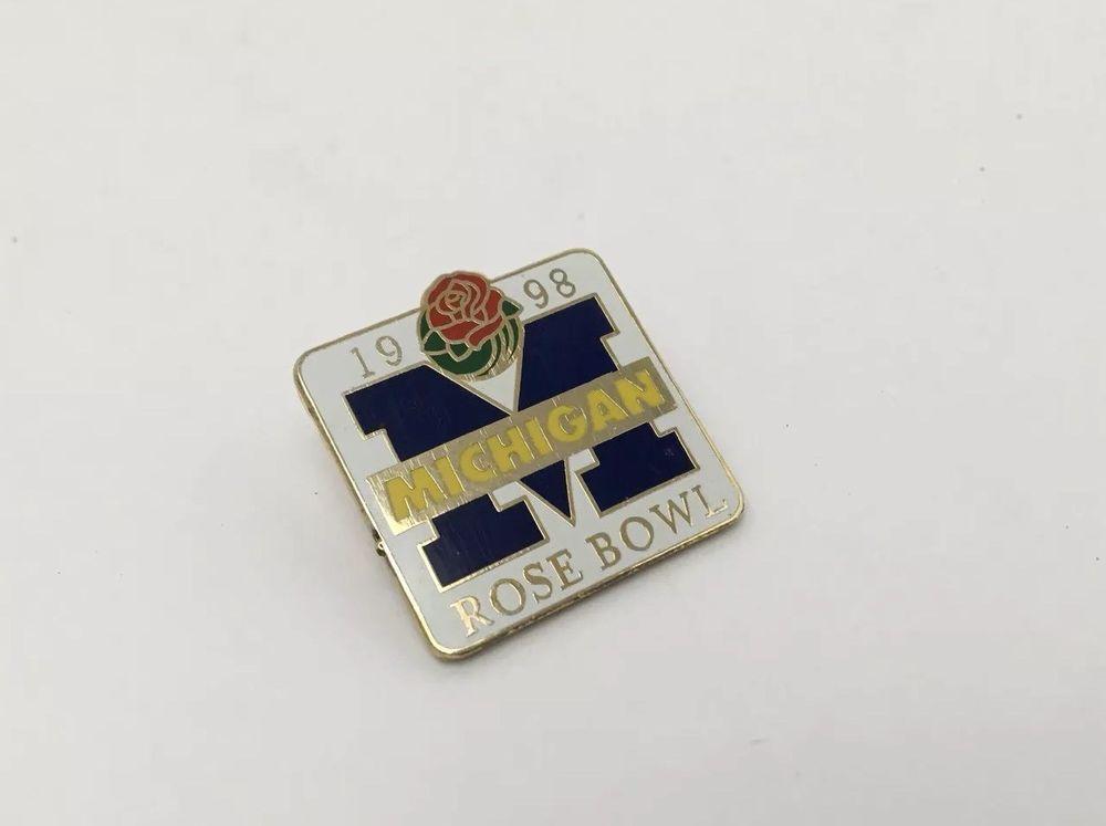 ad777cc61fa Michigan Wolverines 1998 Rose Bowl Lapel Hat Pin Block M Commemorative   Unbranded  MichiganWolverines