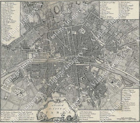map of Paris France giant Vintage historic old world map city plan ...