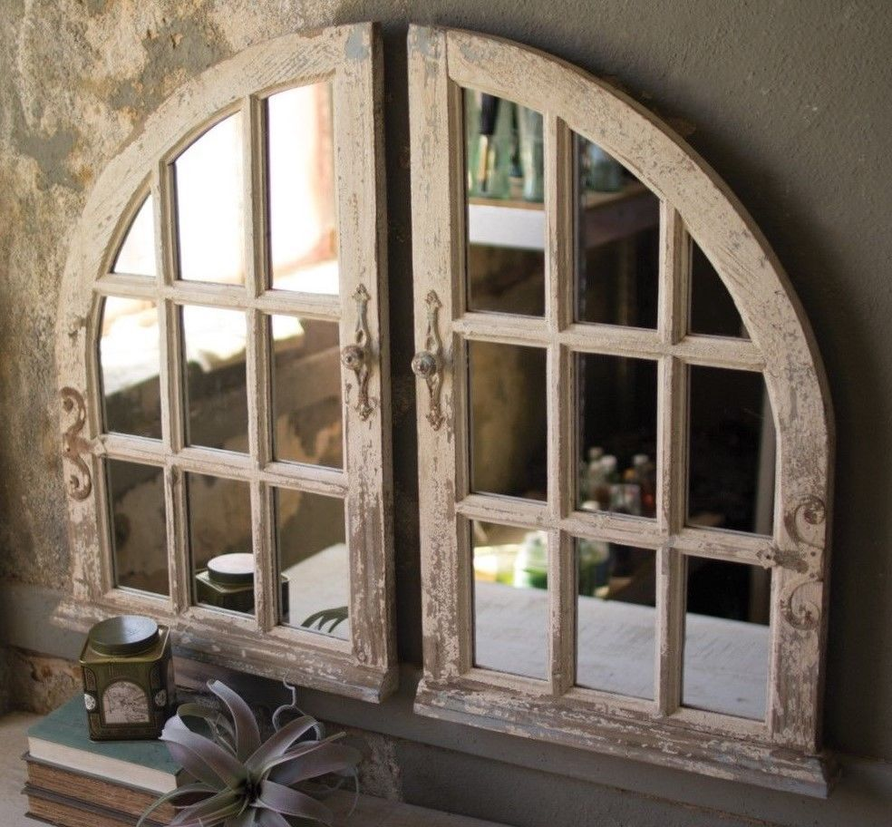 Window pane decor arched window mirror wood window pane wall rustic distressed antique