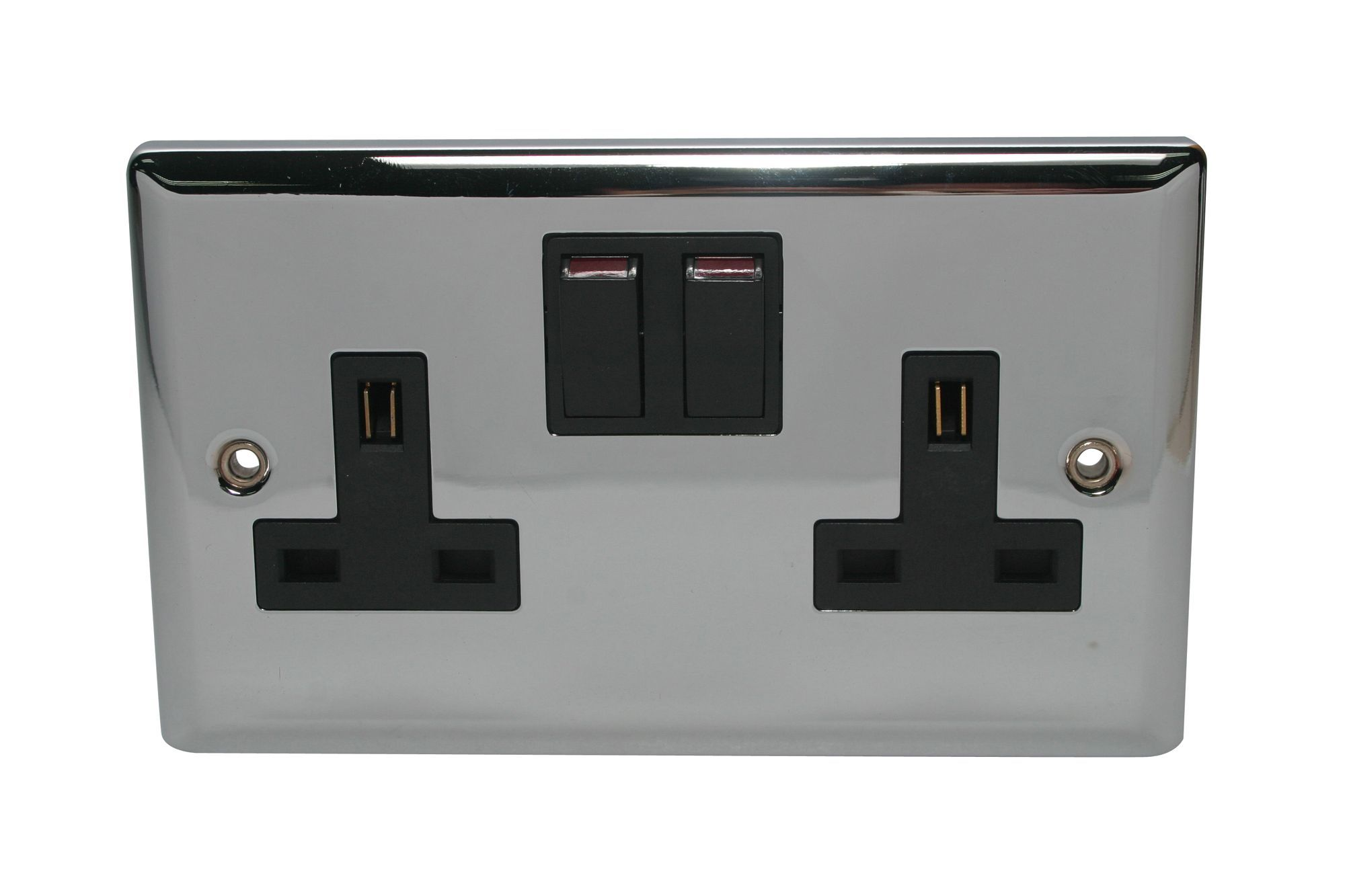 Volex 13a Polished Chrome Switched Double Socket Living Room