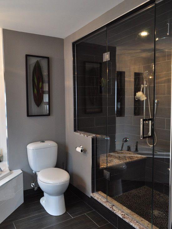 Contemporary bathroom half wall design pictures remodel - Half bathroom remodel ideas ...