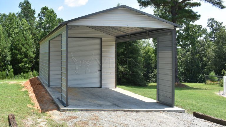 18x35x10 Metal Garage with Carport (With images