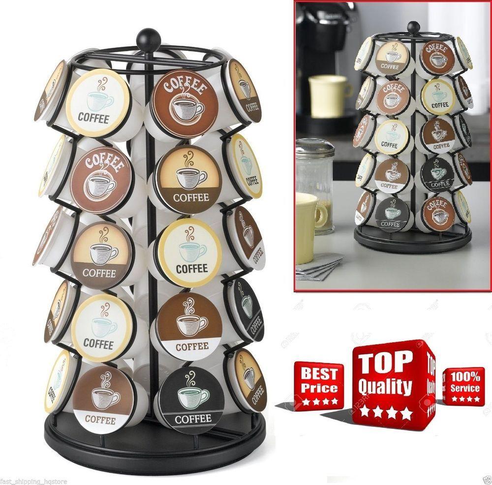 K cup holder pods carousel organizer k cups black rack