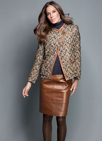 Leather Skirt - pattern: plain; style: straight; fit: tailored ...