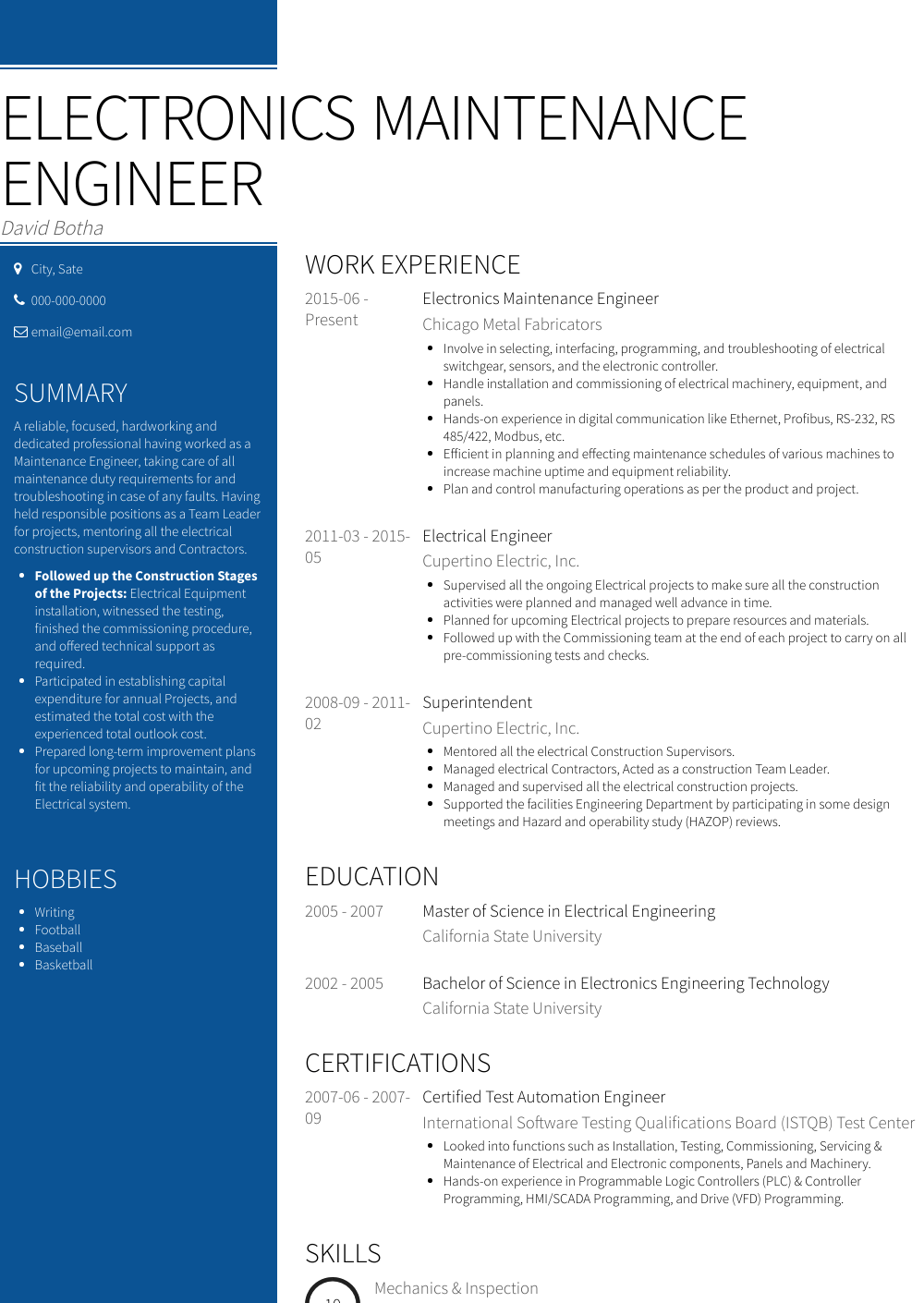electrical maintenance engineer resume india  best resume
