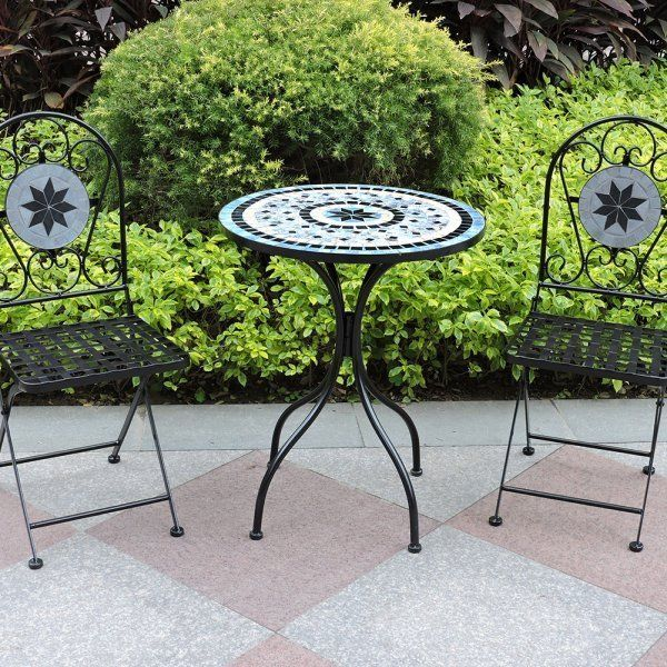 Mosaic Bistro Set Garden Patio Porch Table Chairs Metal Steel Ceramic Furniture & Mosaic Bistro Set Garden Patio Porch Table Chairs Metal Steel ...