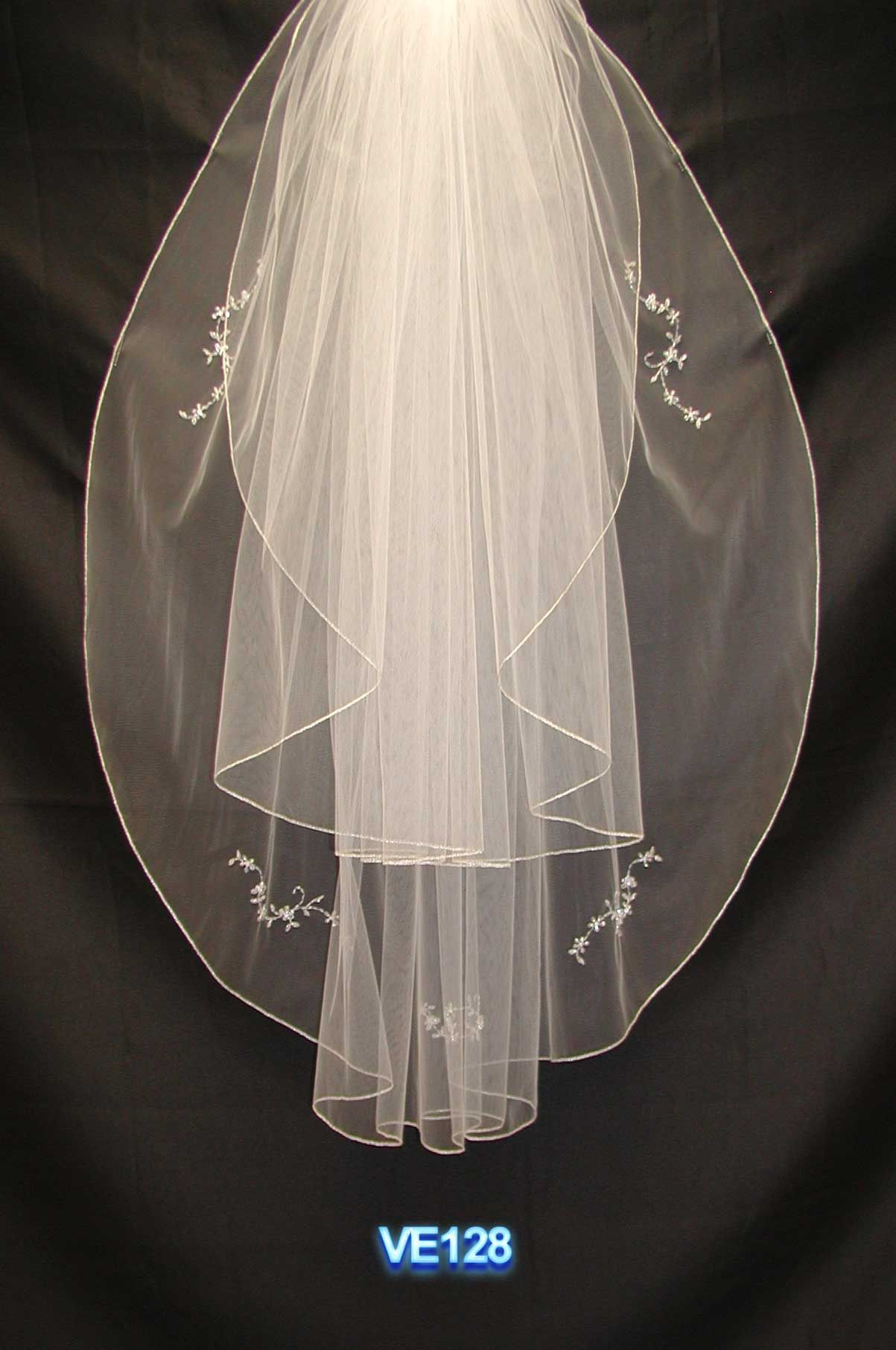 Two tiers waist length long with beading bridal veil