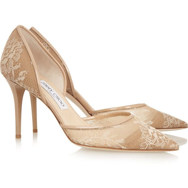 faafed5e636b Jimmy Choo - Addison Patent Leather-trimmed Lace Pumps ( 375) ❤ liked on Polyvore  featuring shoes