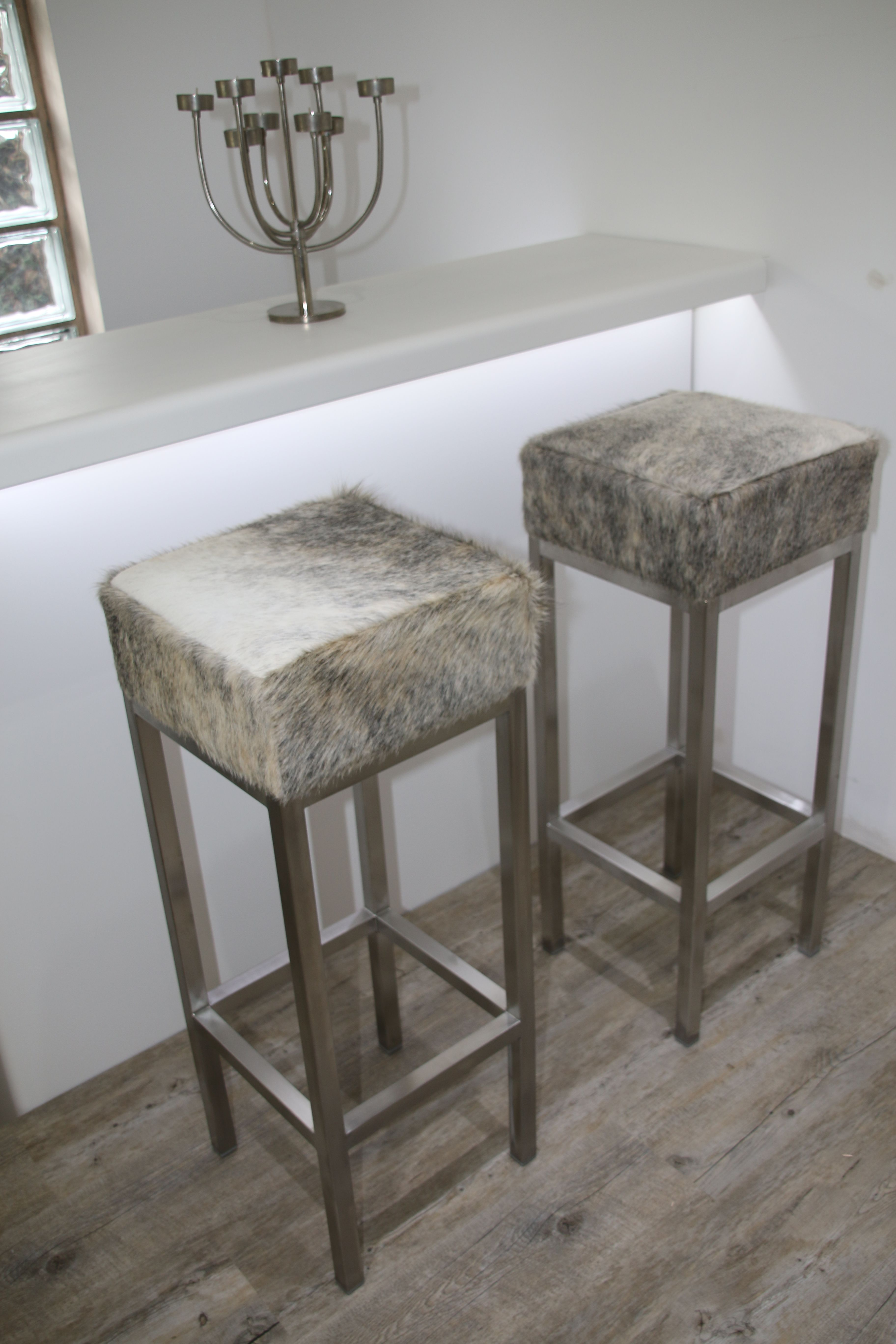 Grey And White Cowhide Bar Stools With Stainless Steel Frames Cowhide Bar Stools Bar Stools Decor