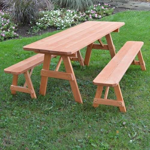 Seward Solid Wood Picnic Table Set Picnic Table Wooden Picnic Tables Cedar Stain
