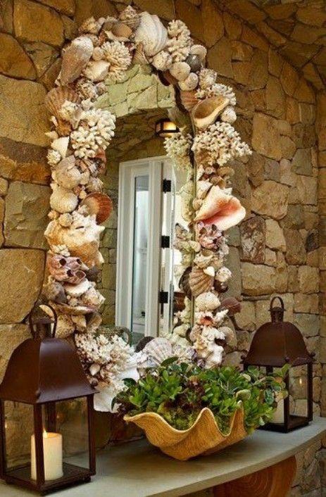 Decorating With Sea Shells Shell Mirror Beach Diy Beach Decor