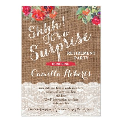 Surprise Retirement Party Invitation Cards Zazzle