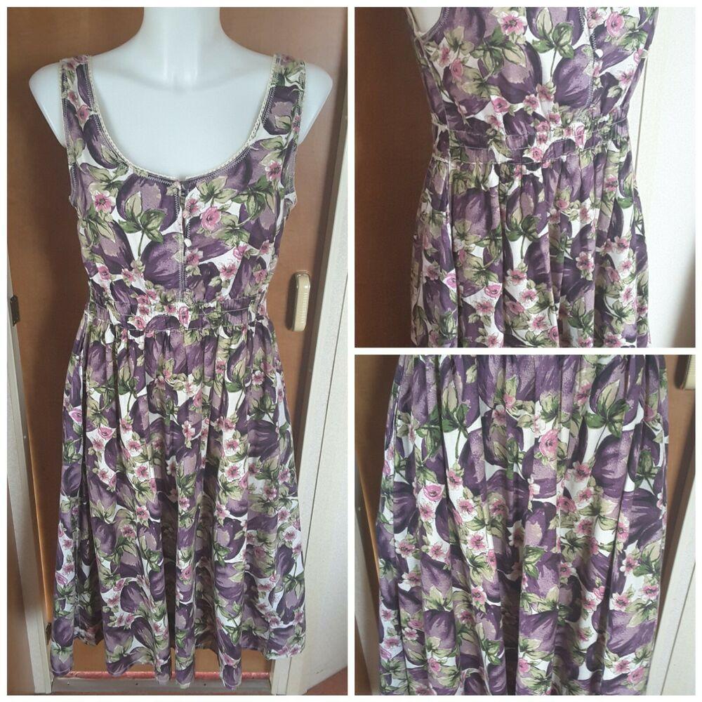 8230edb7bce TU Clothing Women's Purple Floral Cotton Sleeveless Summer Dress Size 10 #TU  #SkaterDress #AnyOccasion