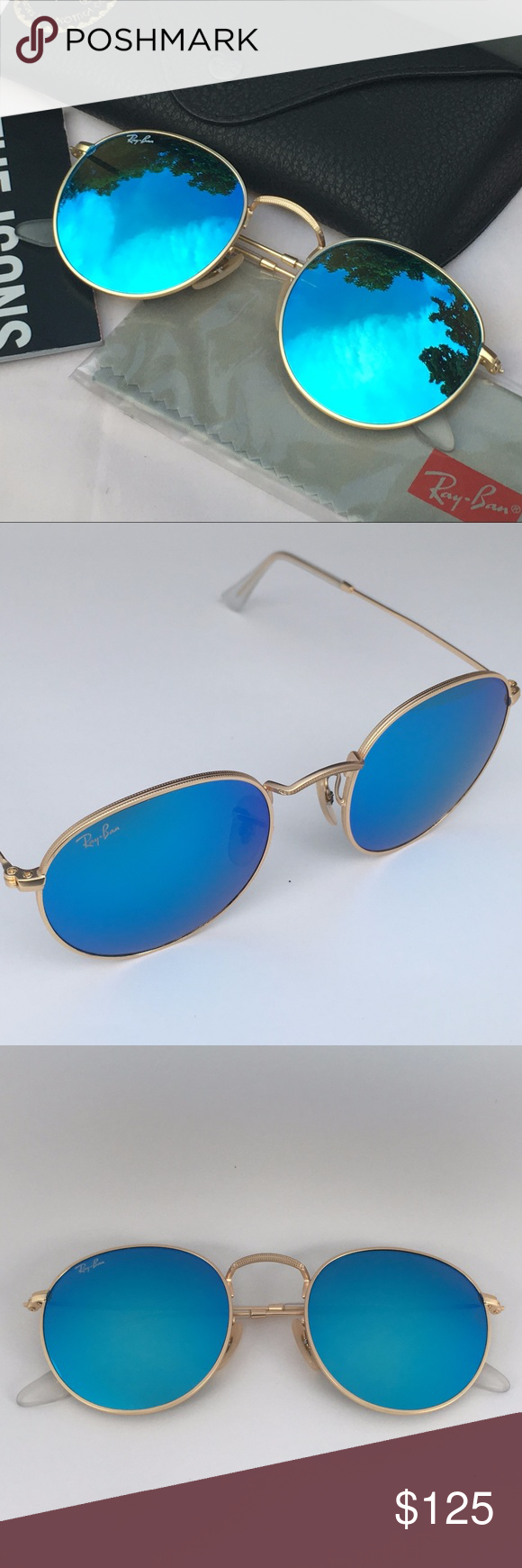60ff91f382 RAY-BAN ROUND SHAPE SUNGLASSES Blue Mirror Gold 100% AUTHENTIC   BRAND NEW