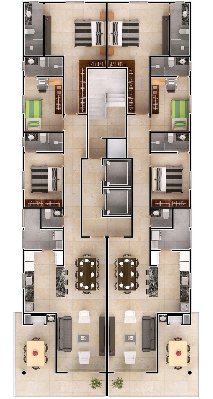Tres habitaciones casa pinterest planos casas y for Planos de apartamentos modernos