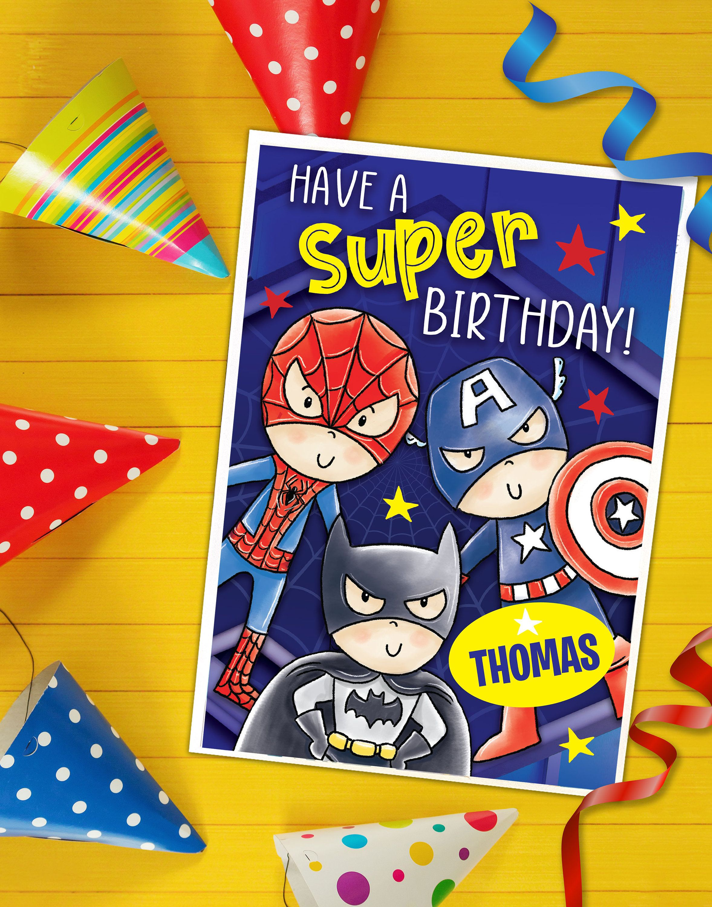 Personalised Super Hero Birthday Card With Name Superheroes Spiderman Captain America Birthday Card With Name Christmas Gift Sticker Birthday Cards For Boys