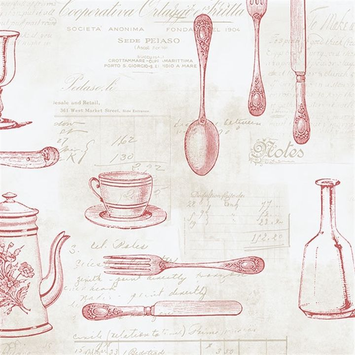Shabby Chic Vintage Kitchen Wallpaper Cups Tea Knife Fork Spoon Red Black White