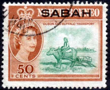 Sabah 1964 SG SG 418 Dusun and Buffalo Transport Fine Used SG 418 Scott 11 Other British Commonwealth Empire and Colonial stamps Here