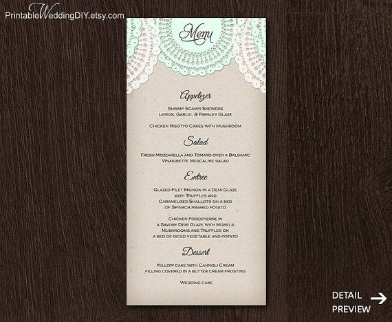 Lace doily mint rustic Printable menu card Template Instant - card templates for word