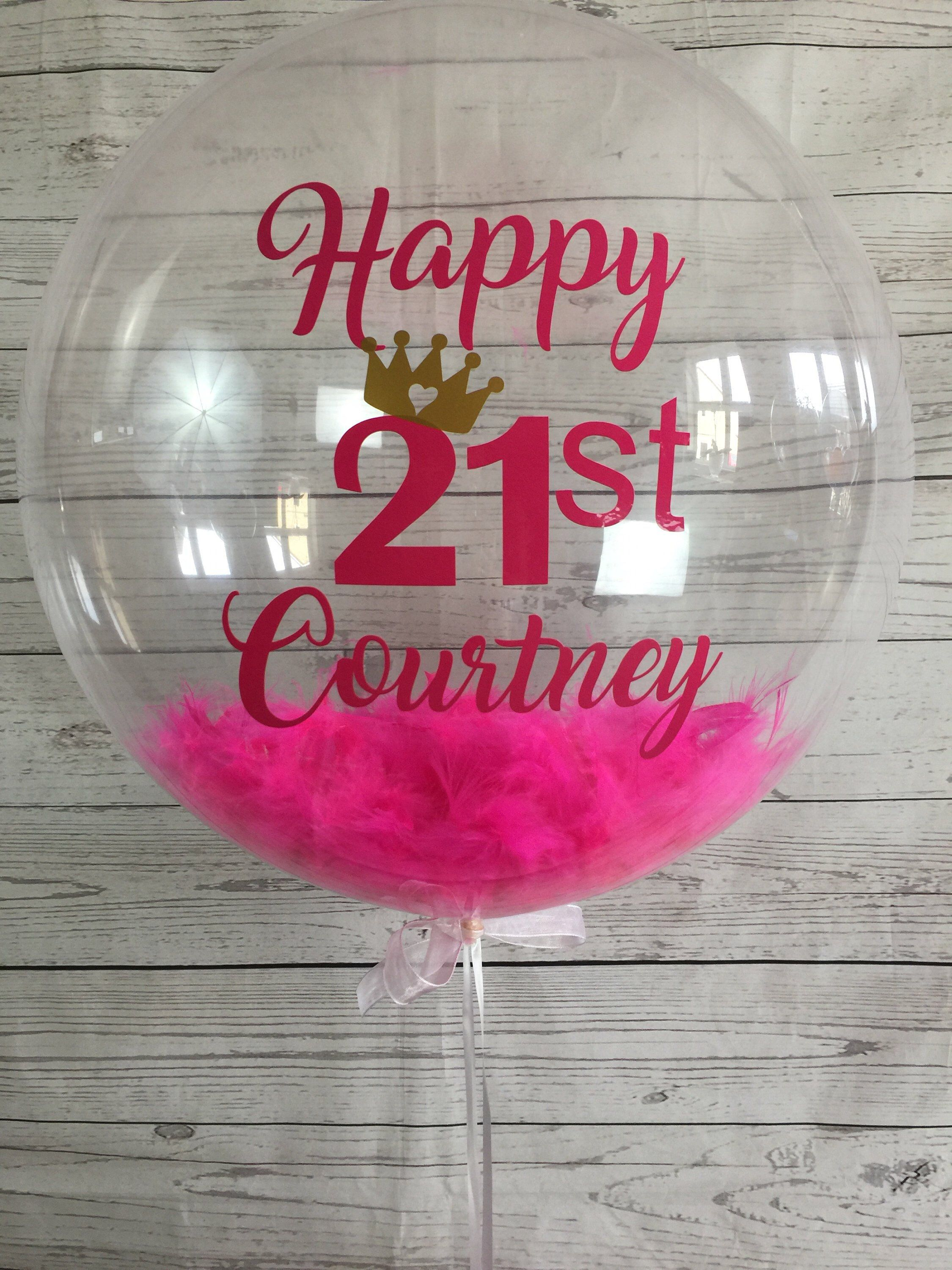 Etsy Shop Personalised 21st Birthday Balloon Bespoke Inflated In A Box Delivery Custom Helium Feather