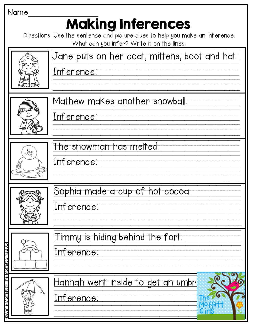 Worksheets Inferences Worksheets january no prep math and literacy 2nd grade making inferences tons of great printables for grade